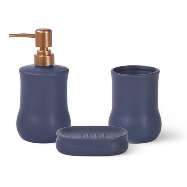 Ceramiczny zestaw łazienkowy dozownik na mydło Fissman niebieski + miedź