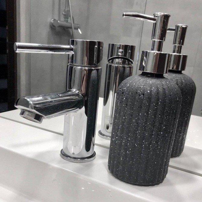 Dozownik do mydła w płynie szary / Szklany dozownik na płyn Orion