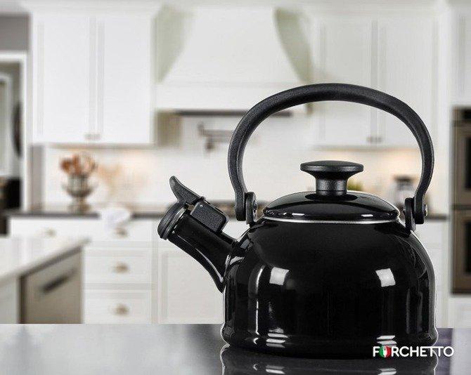 OUTLET Czajnik emaliowany Forchetto Retro czarny 1,6l z gwizdkiem