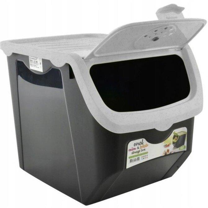 Pojemnik plastikowy na warzywa 12L szary