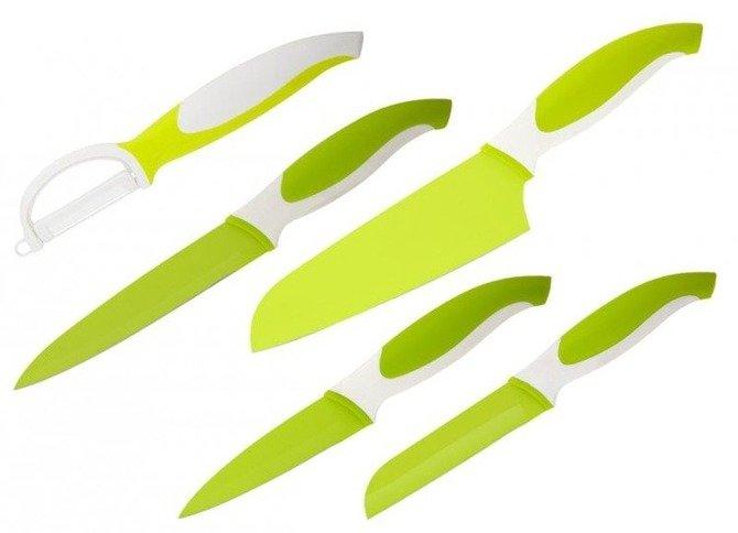Zestaw Granchio 4 noży z obieraczką - zielony