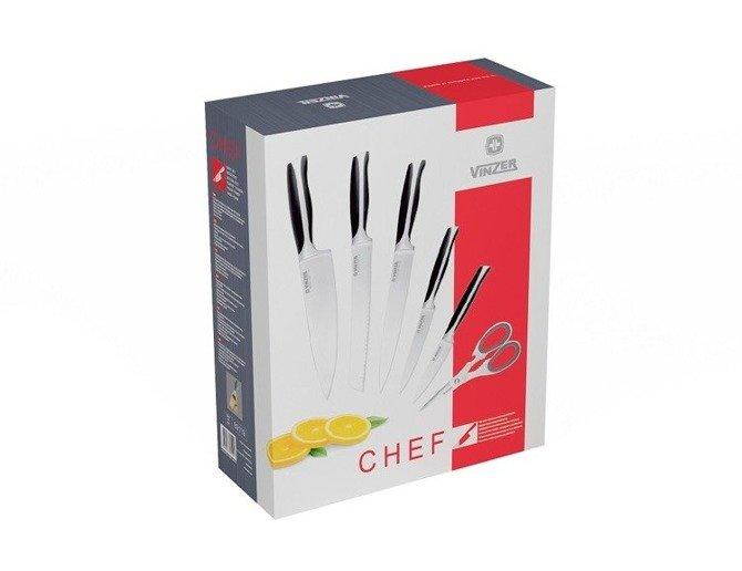 Zestaw noży Vinzer Chef 7cz w drewnianym stojaku z ostrzałką